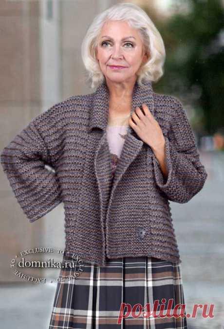 Стильный вязаный жакет для женщин старше 50 лет - описание вязания жакета спицами