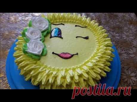 Торт рецепт Тортик СОЛНЫШКО Украшаем торт белково заварным кремом Cake decoration Рецепт крема