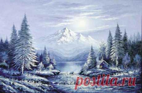 Схема вышивки «зимний пейзаж» - Вышивка крестом