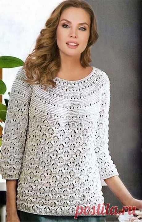 Пуловер с круглой кокеткой для полных дам (Вязание спицами) – Журнал Вдохновение Рукодельницы