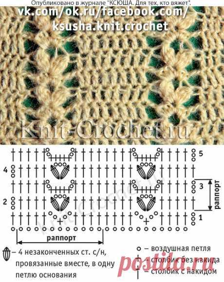 Ажурный узор для вязания крючком.