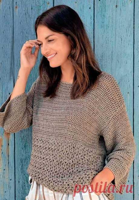 Как связать Пуловер с жасминовым узором крючком