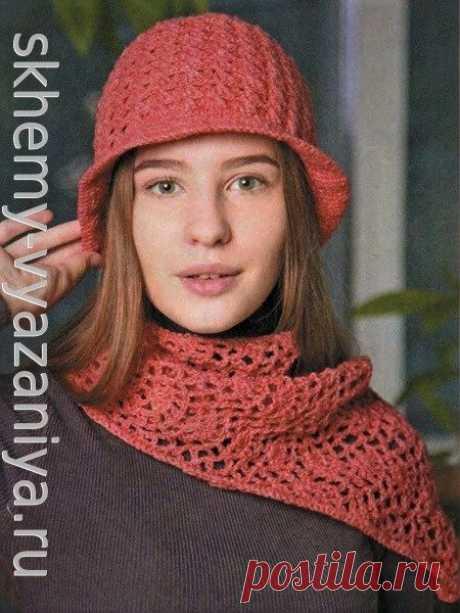 Коралловая шляпка и шарф крючком - схема и описание вязания