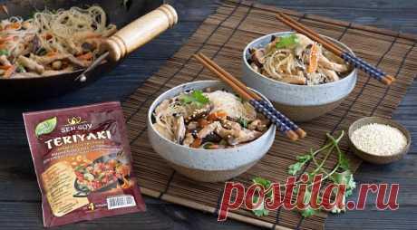 Бобовая вермишель с грибами и курицей терияки, пошаговый рецепт с фото
