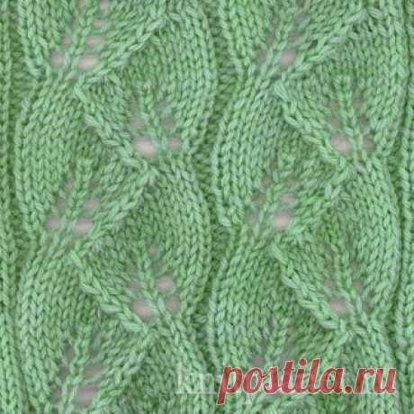 Планета Вязания   Ажурный узор Листья вязанный спицами и схема вязания узора.
