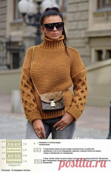 Модный вязаный свитер пуловер оверсайз 2019 с узором соты на рукавах - схема и описание вязания