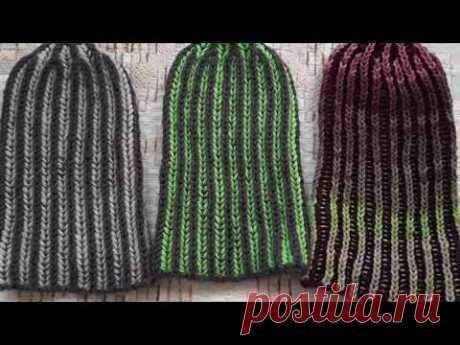 Шапка - английская резинка в два цвета/Two-color beanie hat