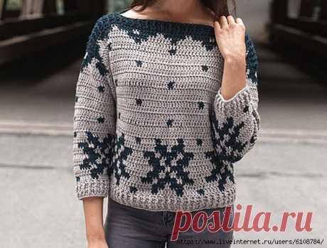 Пуловер с зимним узором
