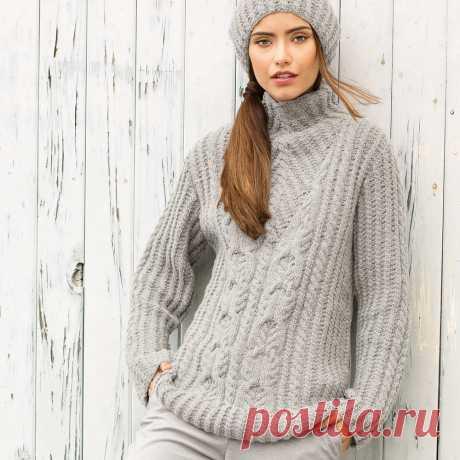 Серый свитер с «косами» - схема вязания спицами. Вяжем Свитеры на Verena.ru