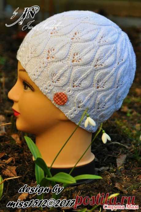 """Snowdrop"""" (подснежники) - ажурная шапочка спицами в подарок. Мой дизайн + схема + описание"""