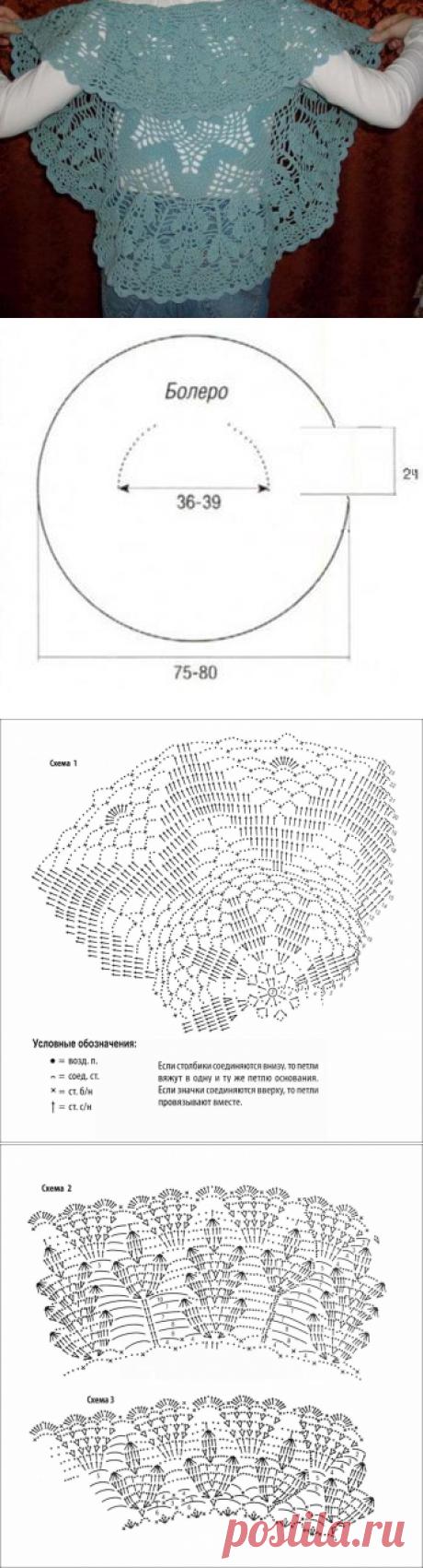 Как связать крючком круговое ажурное болеро