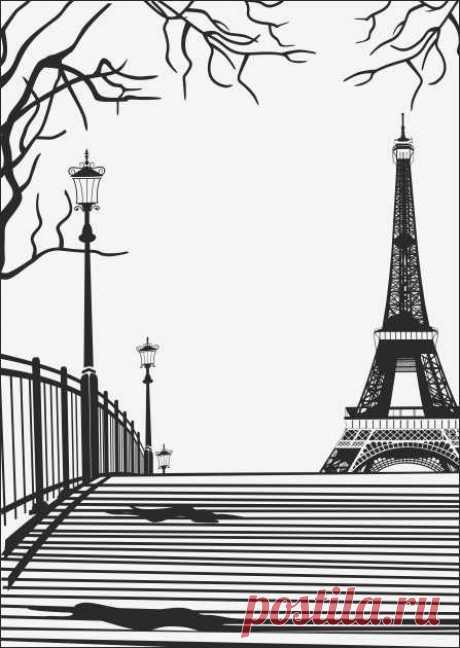 Пескоструйный рисунок эйфелева башня за мостом для  плоттерной резки, дизайнерский шкаф-купе.