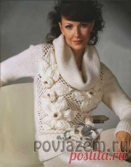 """""""Вяжем-повяжем"""" - Вязаный свитер с красивыми цветами , связанный спицами и крючком , простая форма на 42-44 размер, воротник хомут"""
