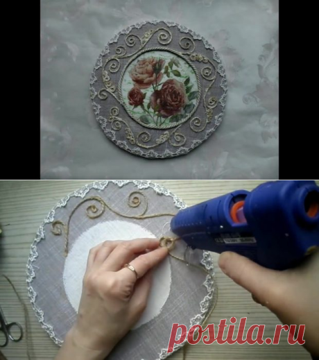 Настенное панно из ткани и шпагата с декупажным декором | Мастер Сергеич