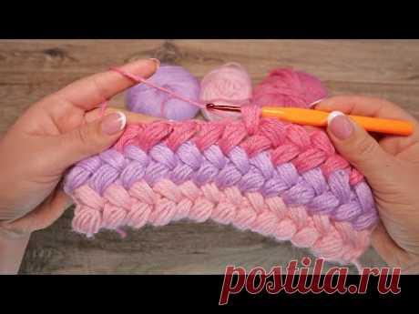 Узор из пышных столбиков крючком, видео ❤ Crochet Bean Stitch ❤ बुनना - YouTube