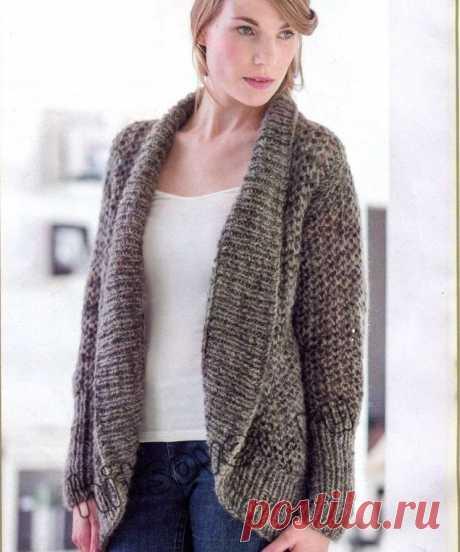 Модная модель вязаного жакета для полных женщин (Вязание спицами) – Журнал Вдохновение Рукодельницы