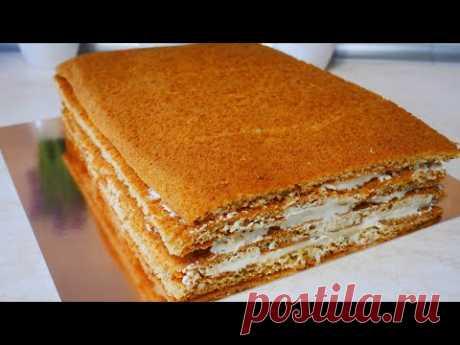 МЕДОВИК. Медовый торт БЕЗ РАСКАТКИ коржей. Рецепт КРЕМА ПЛОМБИР крем для промазки коржей