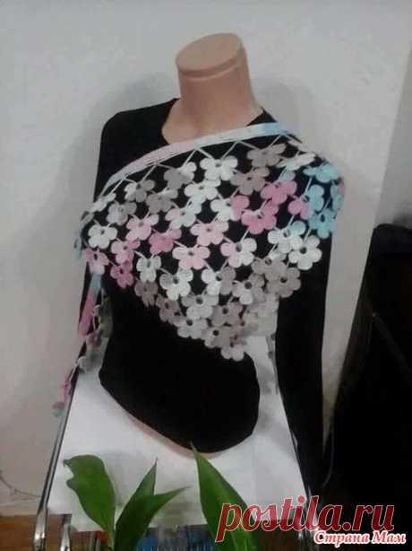 Идея для минишали и шарфика из цветов, крючок - Вязание - Страна Мам