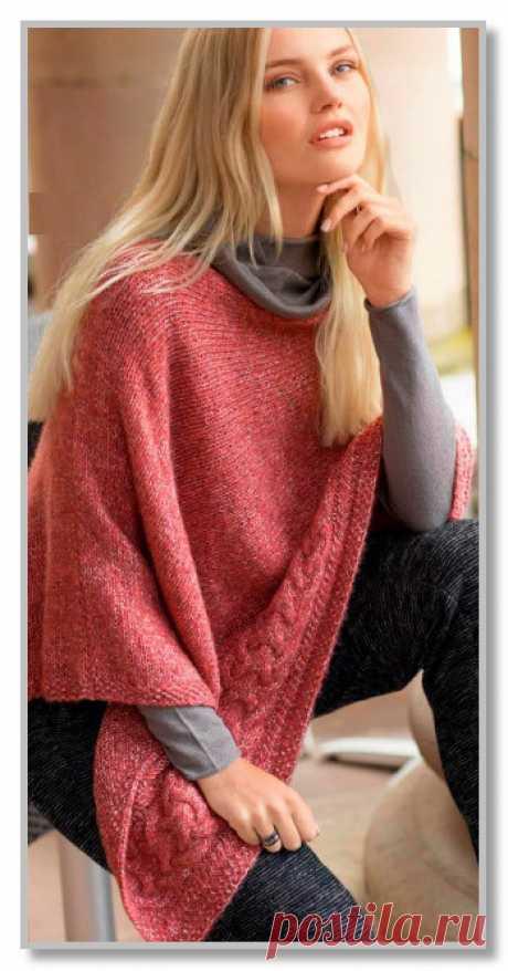 Вязание спицами для женщин. Пончо поперечной вязки и с рельефной косой. Размер: единый
