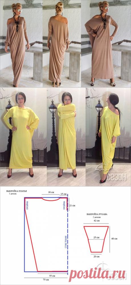 ДИЗАЙН-ПЛАТЬЕ Synthia Psarru !!! *Простой крой. Расход ткани при шир.150: длина от плеча до пола + рукав 60см + 5см на подгибку и швы.