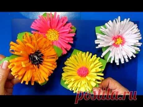 Бумажные цветы легко и быстро своими руками поделки из цветной бумаги мастер класс.