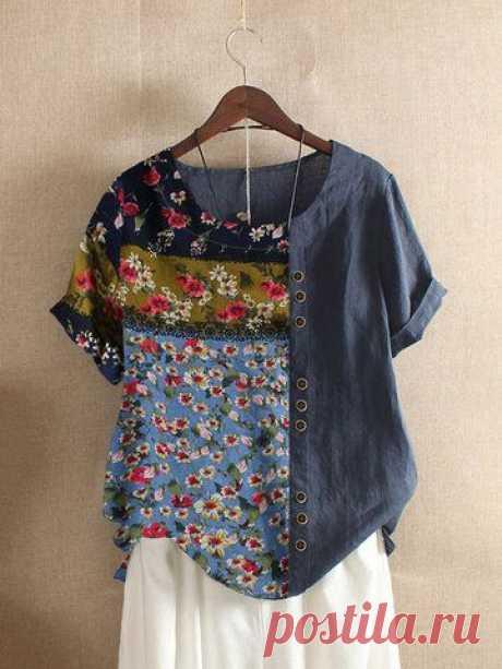 модный Повседневная футболка с коротким рукавом и цветочным принтом онлайн - NewChic мобильный