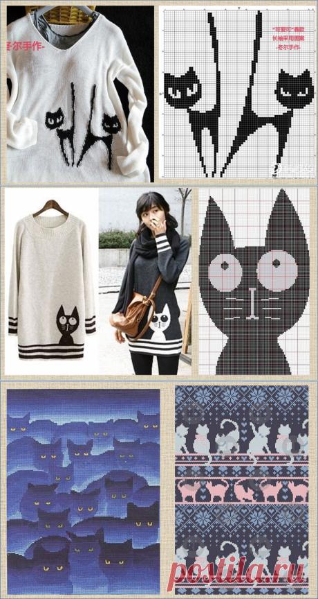 Жаккард и интарсия с прекрасными кошками - более сотни схем и моделей - в копилки мастериц | МНЕ ИНТЕРЕСНО | Яндекс Дзен