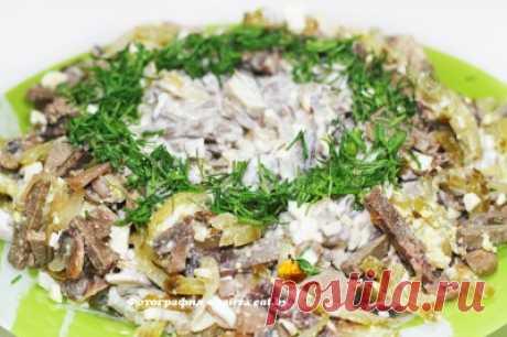 Салат с печенкой и грибами - рецепт, фото, как приготовить вкусно, быстро и просто | eat.by