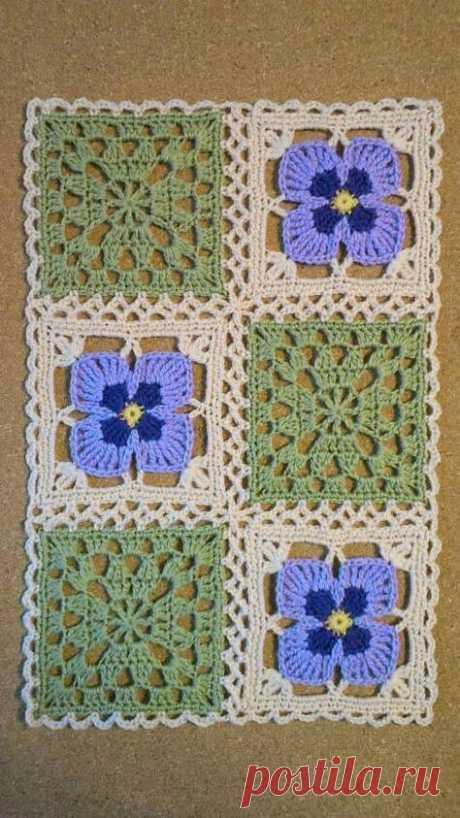 Красивые цветочные квадратные мотивы крючком