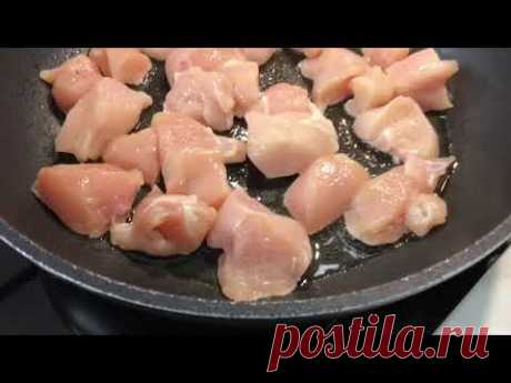 Куриное филе с луком и со сметаной на сковороде . Куриная сковородка . Что приготовить из курицы