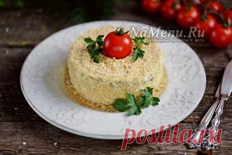 "Салат ""Наполеон"", рецепт с курицей и грибами с фото пошагово"