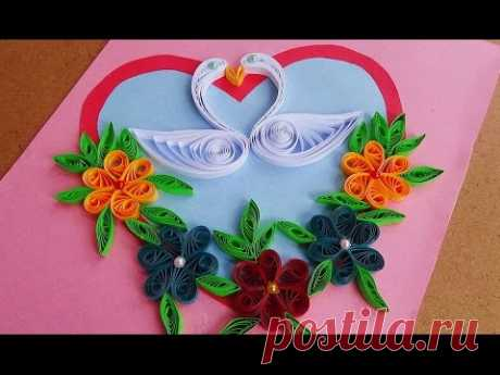 ☑️Paper Quilling How to make Beautiful Quilling Heart and 🐦💘🐦swans⏭Quilled Greeting Card