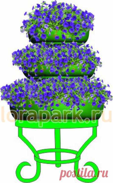 ЕЛОЧКА 3 яруса, цветочница металлическая в виде пирамиды с термо-чашами - завод МАФ Lora-Park