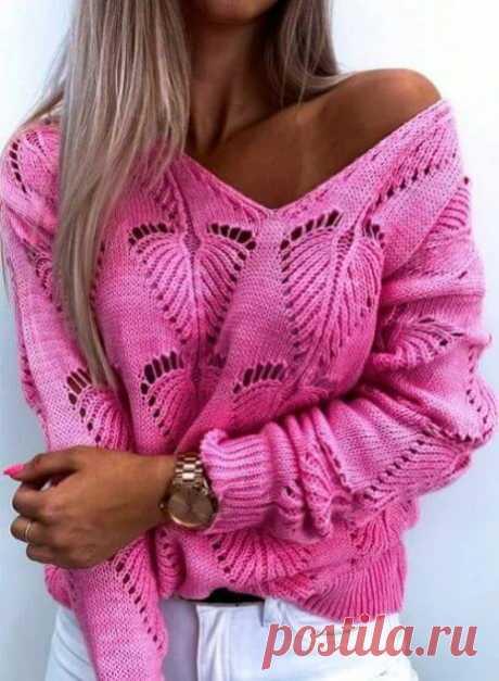 """Пуловер с узором """"Листик"""". Схема узора ~ Свое рукоделие"""