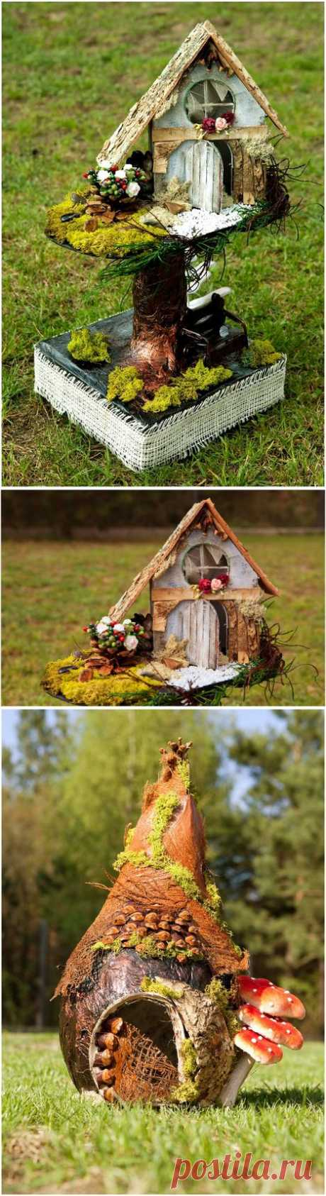 Las casitas decorativas de los materiales naturales.