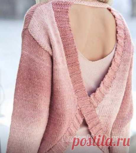 Розовый джемпер с вырезом на спинке схема спицами » Люблю Вязать