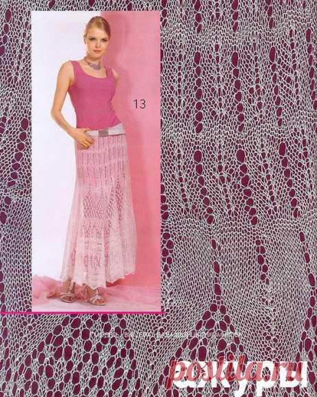 Длинная ажурная воздушная юбка связана спицами