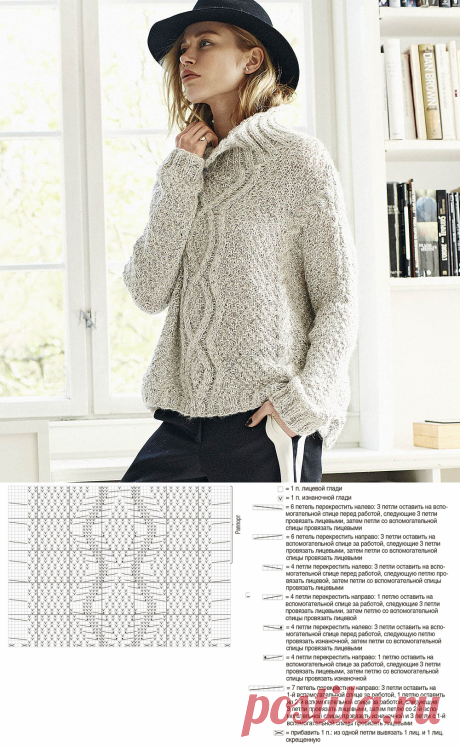 Свитер-оверсайз из двух видов пряжи - схема вязания спицами. Вяжем Свитеры на Verena.ru