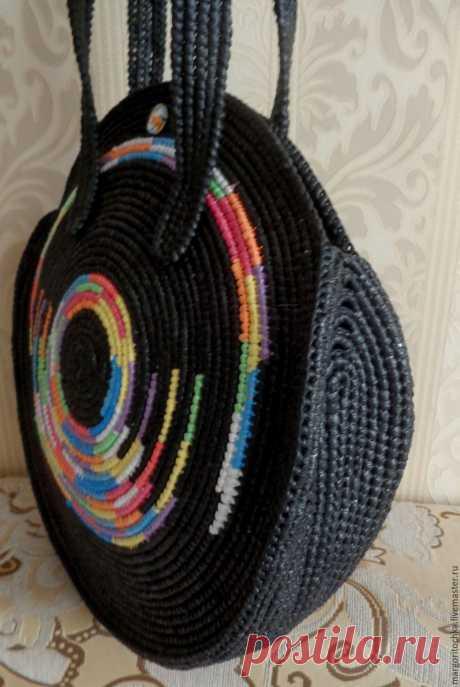 """Купить Сумка """"Северное сияние"""" - комбинированный, в полоску, Сумка авторская, сумка вязаная, сумка крючком"""