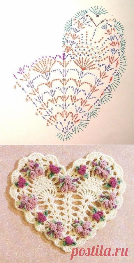 Вязаные сердечки со схемами — Сделай сам, идеи для творчества - DIY Ideas