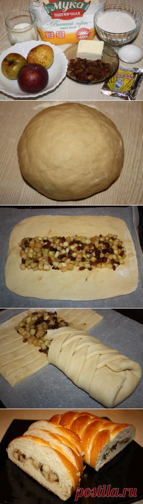 рецепт плетенки с яблоками и изюмом