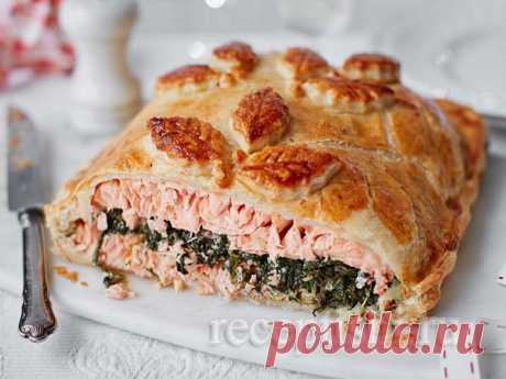 Лосось со шпинатом, запеченный в тесте   Кулинарные рецепты с фото