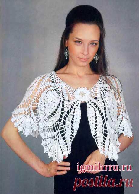 Женственная накидка «Белый танец». Вязание крючком