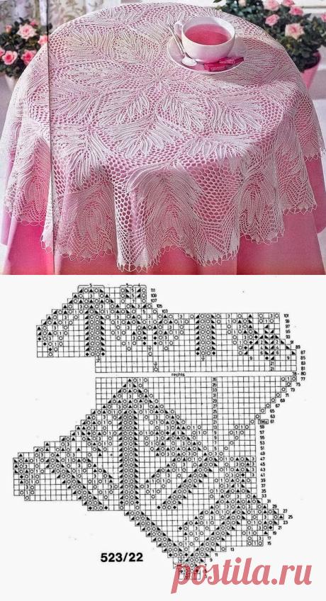 Модели вязания со схемами и описаниями: Красивейшая скатерть спицами