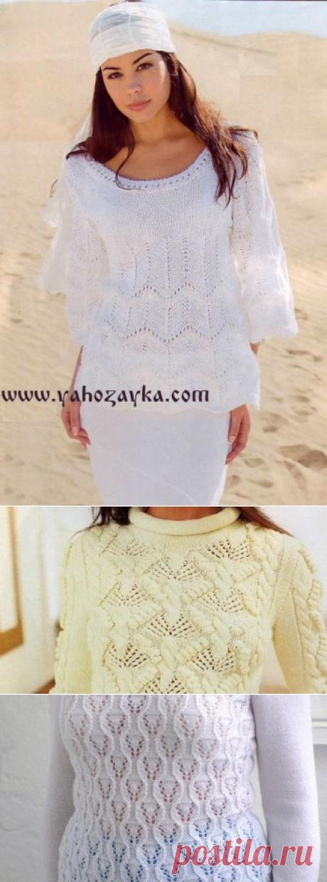 Белый пуловер узором зигзаг. Вязаный женский пуловер спицами | Я Хозяйка