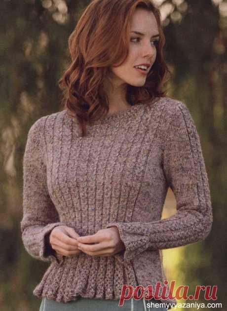 Пуловер Giulietta с баской и узором из кос.
