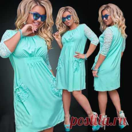 Платье с гипюром большой размер : скидки всем. Доставка по России и СНГ. Новая коллекция.