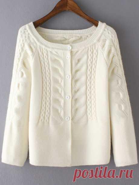 Raglan Sleeve Cable Knit White Cardigan