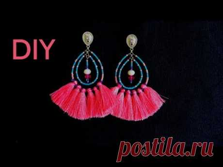 Brinco Tassel Rosa - Diy bijuterias !!