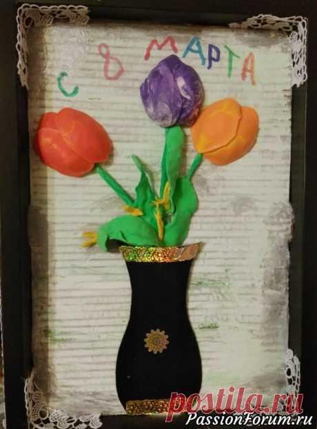 Открытка на восьмое марта | Детское творчество